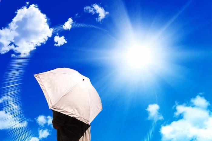 日傘で紫外線を防いでいる女性の画像